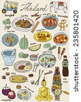 doodles thai food and icons set ... | Shutterstock .eps vector #235801420