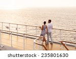 cute couple walking on cruise... | Shutterstock . vector #235801630