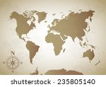 world map on the old paper... | Shutterstock .eps vector #235805140