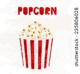 popcorn in striped bucket on... | Shutterstock .eps vector #235806028