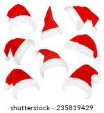 collage of santa hats isolated... | Shutterstock . vector #235819429