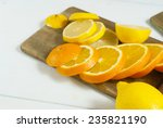 apples  oranges and lemons on... | Shutterstock . vector #235821190