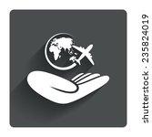 world trip insurance sign. hand ...