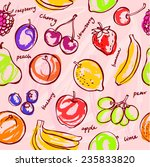 fresh fruit seamless pattern... | Shutterstock .eps vector #235833820
