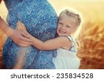 happy family  a young beautiful ... | Shutterstock . vector #235834528