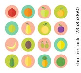 fruits and berries flat circled ... | Shutterstock .eps vector #235853860
