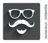 mustache and glasses sign icon. ...