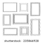 vector set of vintage photo frames hand drawn doodle style antique ornamental and cute
