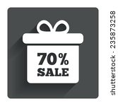 70  sale gift box tag sign icon....
