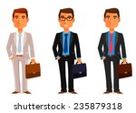 funny cartoon businessman with... | Shutterstock .eps vector #235879318
