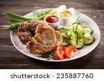 barbecued steak  boiled... | Shutterstock . vector #235887760