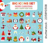 Big Set Of Flat Christmas Icon...