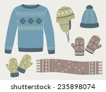 winter knitted clothes  sweater ... | Shutterstock .eps vector #235898074