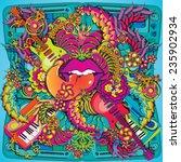 vibrant psychedelic music lips... | Shutterstock .eps vector #235902934