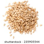 Sesame Seeds Isolated On White...