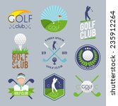 golf club label set with ball...   Shutterstock .eps vector #235912264