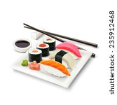 sushi asian fish food realistic ... | Shutterstock .eps vector #235912468