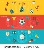 soccer banners flat set with... | Shutterstock .eps vector #235914733