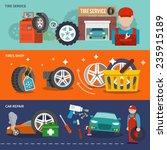 tire service flat banner set... | Shutterstock .eps vector #235915189