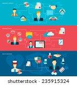 insurance banner flat set with... | Shutterstock .eps vector #235915324