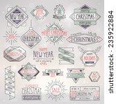 christmas hand drawn emblems... | Shutterstock .eps vector #235922884