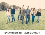 multiethnic group of friends at ... | Shutterstock . vector #235929574