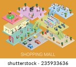 flat 3d isometric shopping mall ... | Shutterstock .eps vector #235933636