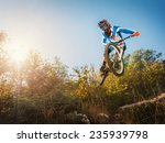 downhill cycling. man high jump ... | Shutterstock . vector #235939798