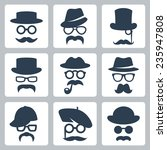icon set of vector mustaches ... | Shutterstock .eps vector #235947808