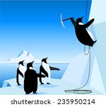 three emperor penguins and one... | Shutterstock .eps vector #235950214