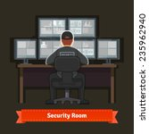 security room with working... | Shutterstock .eps vector #235962940