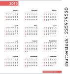calendar 2015  week begins... | Shutterstock .eps vector #235979530