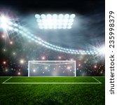 soccer ball on green stadium... | Shutterstock . vector #235998379
