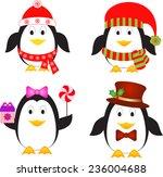penguins vectors  christmas... | Shutterstock .eps vector #236004688