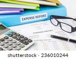 business expense report binder... | Shutterstock . vector #236010244