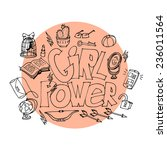cute banner for girl power ... | Shutterstock .eps vector #236011564