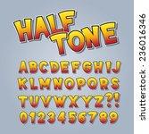halftone comic pop art alphabet ... | Shutterstock .eps vector #236016346