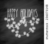 happy holidays doodle card on... | Shutterstock .eps vector #236073148