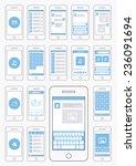smartphone ui flat design...