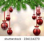 christmas illustration with fir ... | Shutterstock .eps vector #236116273