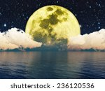 moon in the night sky over... | Shutterstock . vector #236120536