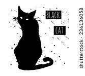 Stock vector hand drawn vector illustration of cute black cat 236136058