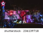 house decorated with lights for ... | Shutterstock . vector #236139718