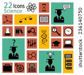 22 Science Flat Icons  Vector