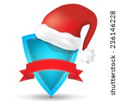 blue shield with red ribbon and ... | Shutterstock .eps vector #236146228