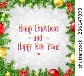 christmas fir tree border with... | Shutterstock .eps vector #236147893