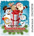 vintage christmas poster design ... | Shutterstock .eps vector #236158558