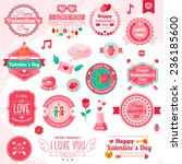 set of vintage happy valentine... | Shutterstock .eps vector #236185600