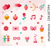 valentine's day icons elements... | Shutterstock .eps vector #236187394