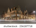 Stock photo hannover germany november old city hall in hannover at evening 236187718